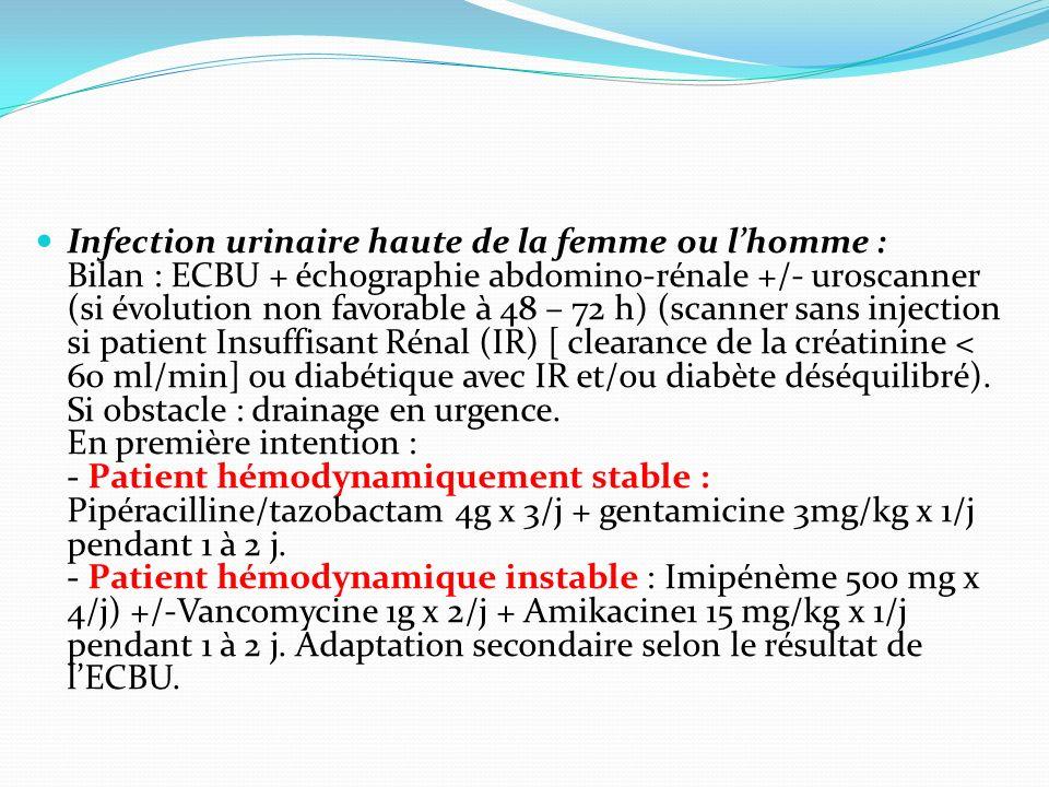 Infection urinaire haute de la femme ou l'homme : Bilan : ECBU + échographie abdomino-rénale +/- uroscanner (si évolution non favorable à 48 – 72 h) (scanner sans injection si patient Insuffisant Rénal (IR) [ clearance de la créatinine < 60 ml/min] ou diabétique avec IR et/ou diabète déséquilibré).